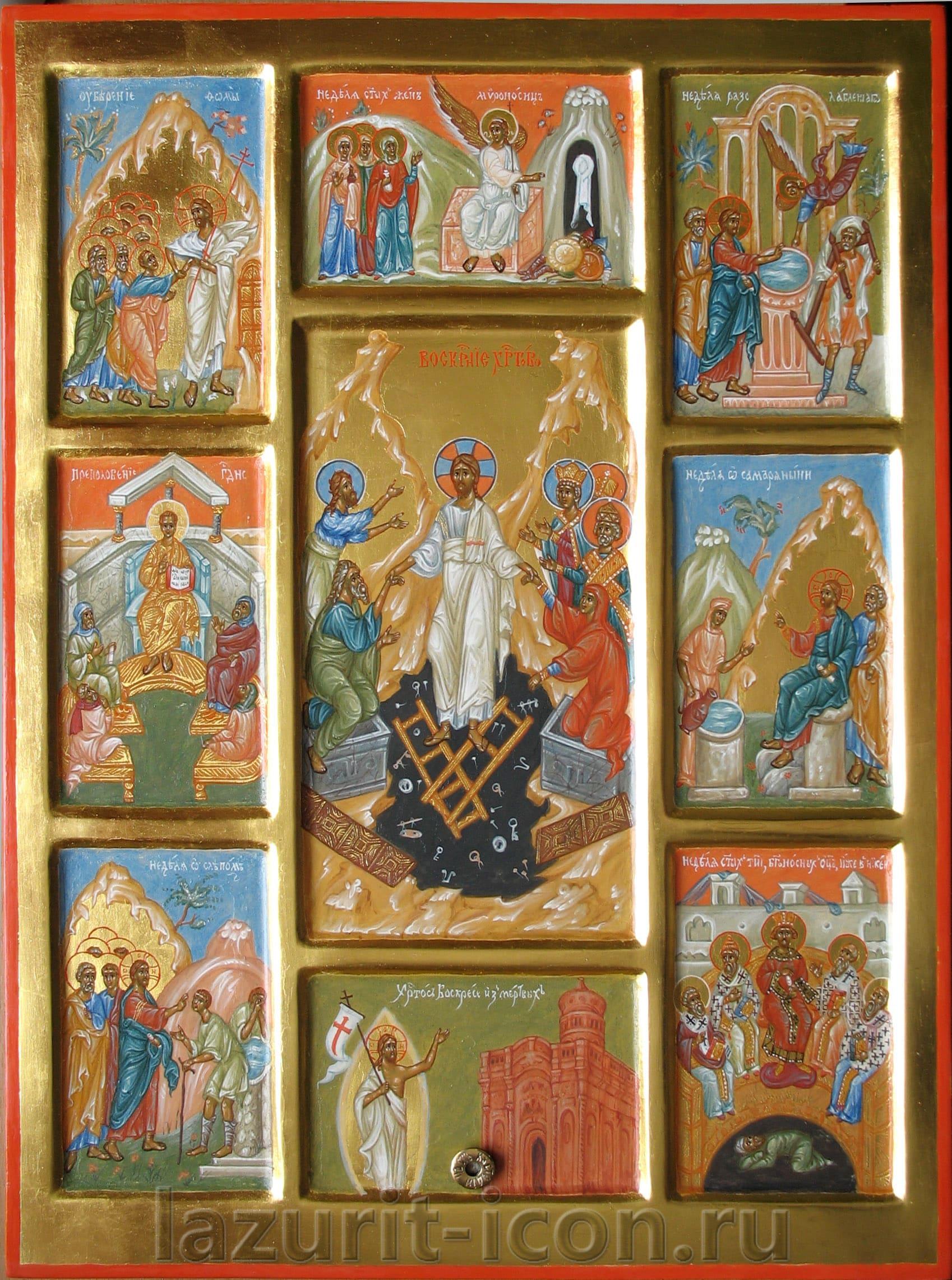 Сошествие во ад с клеймами недель Пятидесятницы