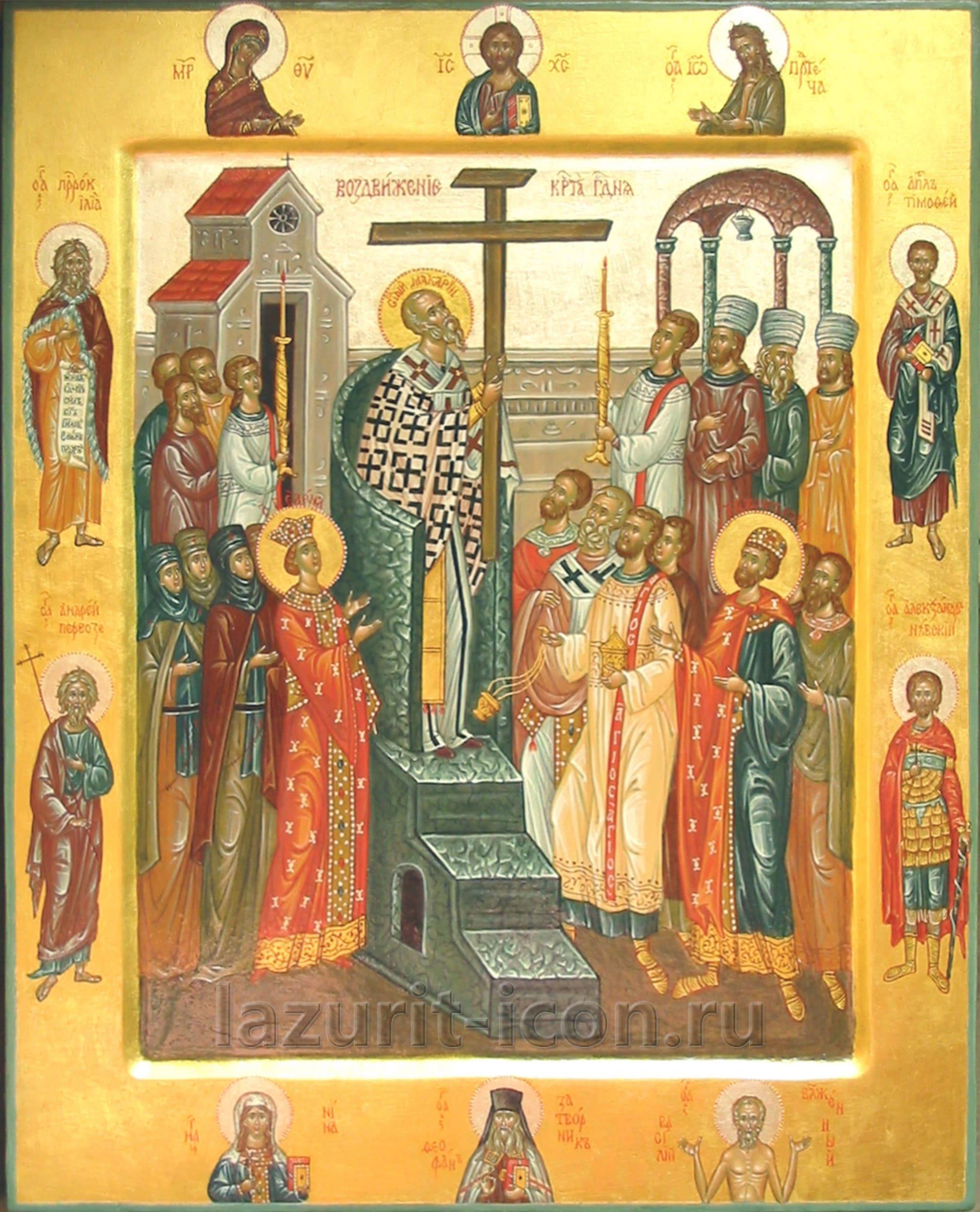 Крестовоздвижение со святыми на полях